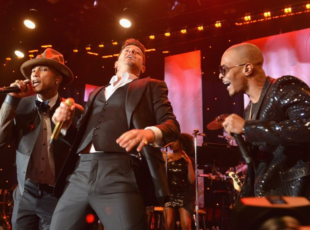 Pharrell, Robin Thicke, T.i performing