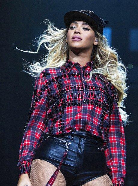 Beyonce wearing red and black tartan shirt