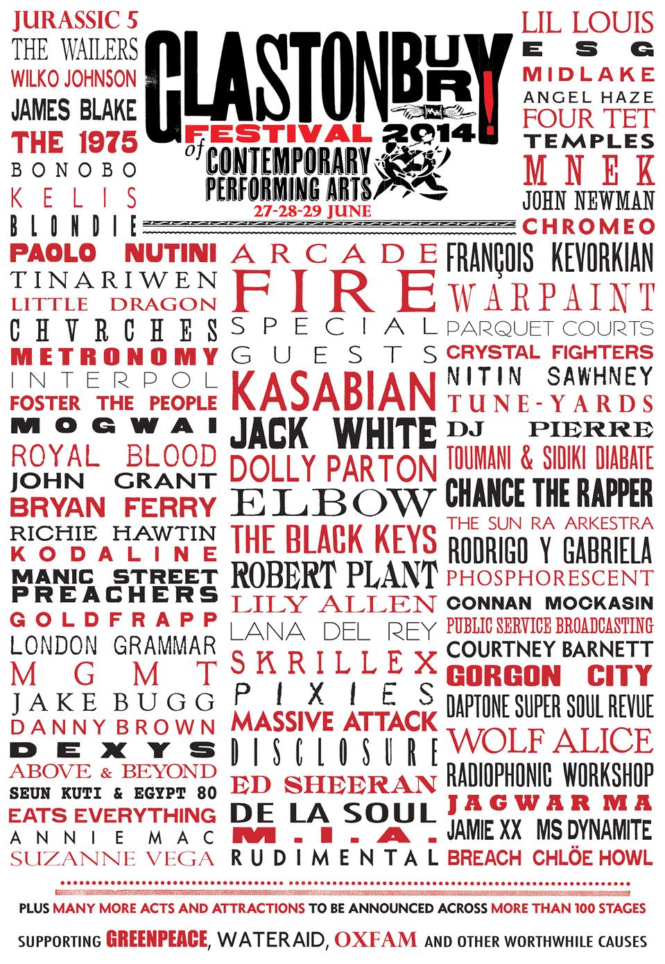 Glastonbury 2014 line-up 1