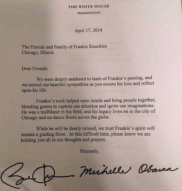 Obamas letter to Frankie Knuckles Family
