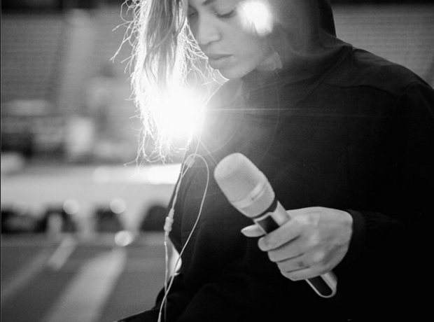 Beyonce with microphone