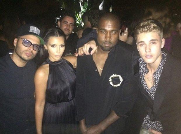 Kanye West With Kim Kardashian and Justin Bieber