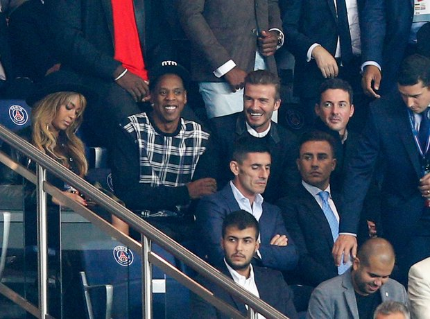 David Beckham with Jay Z and Beyonce