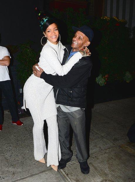 Rihanna and celebrates her Grandpa's birthday