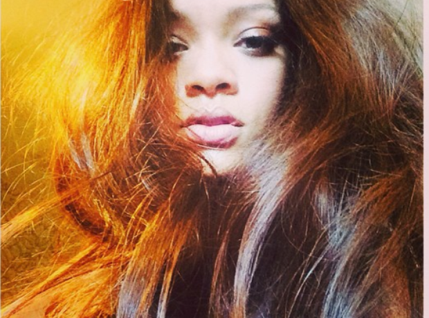 Rihanna takes a selfie on instagram