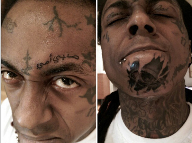 Lil' Wayne face tattoo