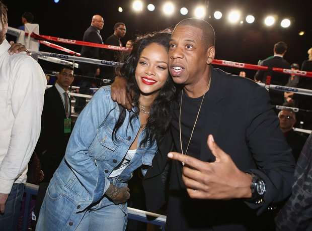 Rihanna and Jay Z attend 2015 Throne Boxing Fight