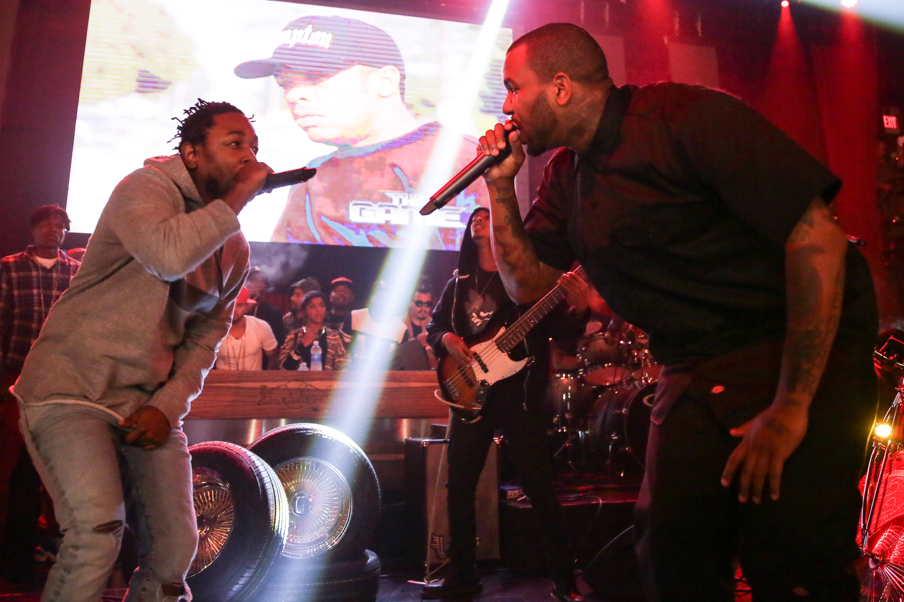 Kendrick Lamar and The Game on stage at 'The Docum