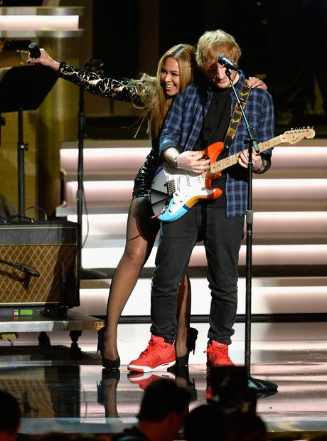Beyonce and Ed Sheeran on stage at Stevie Wonder