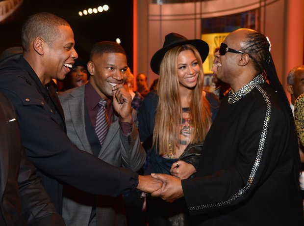 Jay Z, Beyonce, Stevie Wonder and Jamie Foxx