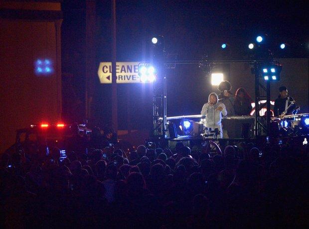 Kendrick Lamar performs on truck