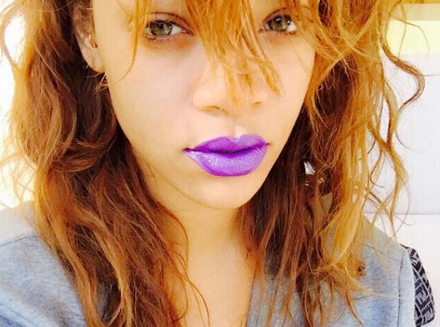 Rihanna  purple lips