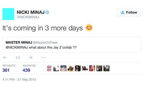 Nicki Jay Z Tweet