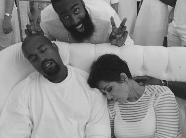 Kanye West and Kris Jenner asleep