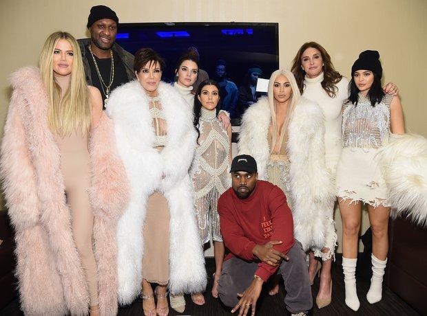 Kim Kardashian and Kanye West and family