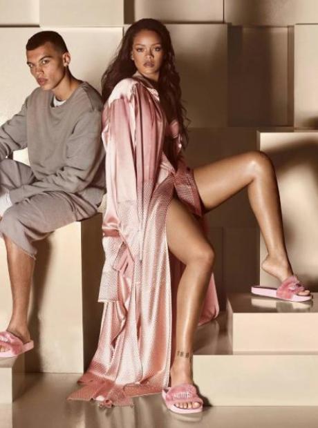 Rihanna wearing Fur Slide slippers