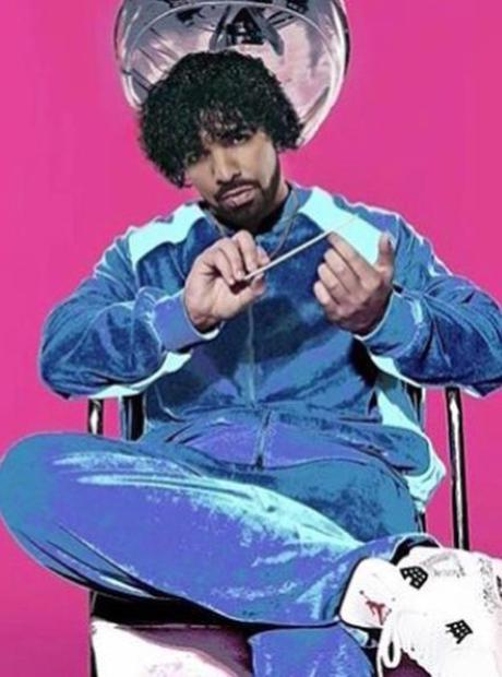 Drake wearing wig
