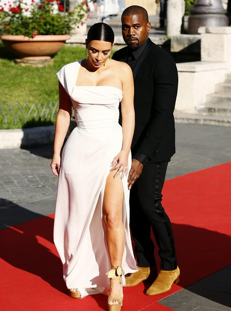 Kim Kardashian and Kanye West attend premiere in R
