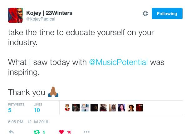 Kojey Radical MP Bootcamp tweet