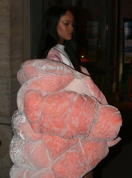 Rihanna wears a bold pink coat in Paris
