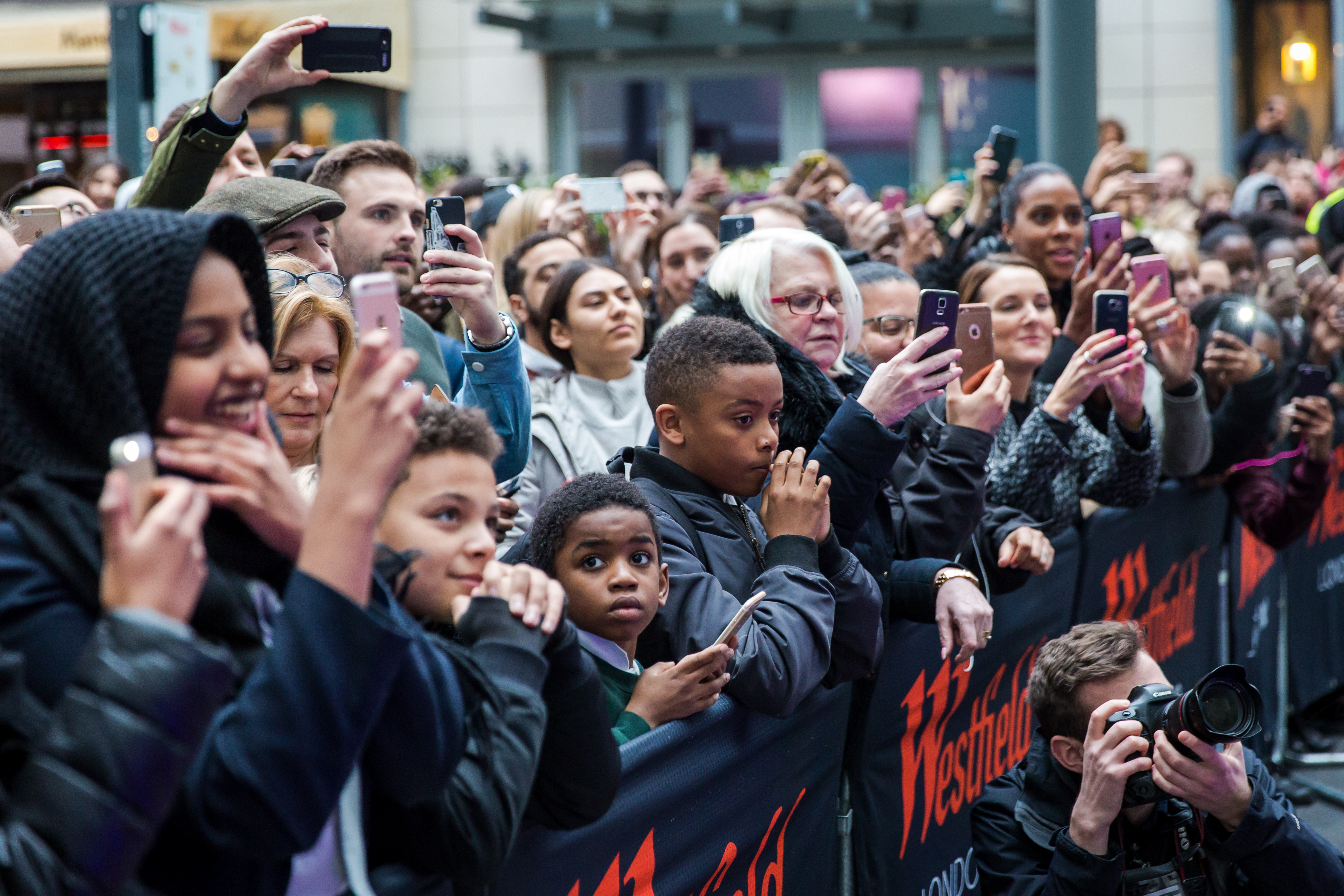 Fans at Stormzy's surprise show at Westfield White