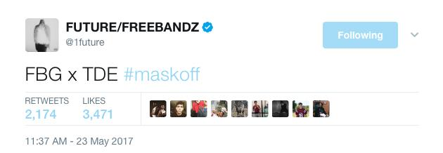 Future tweet about Kendrick 'Mask Off' remix