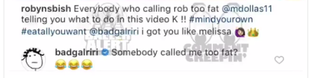 Rihanna comment on Insta video
