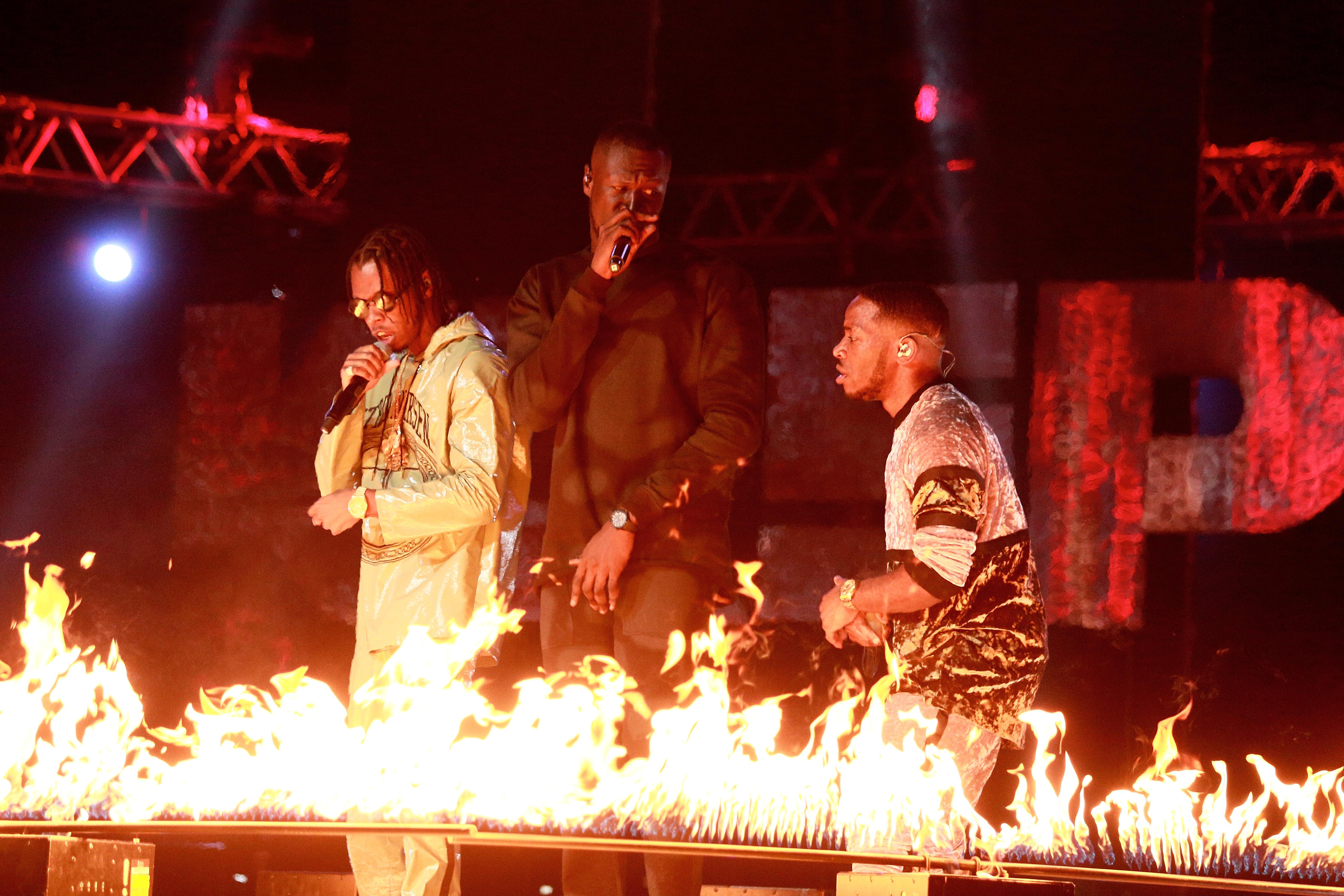 Stormzy performing with Krept & Konan at the MOBOS