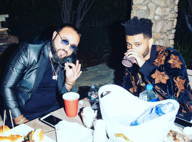 The Weeknd drinking