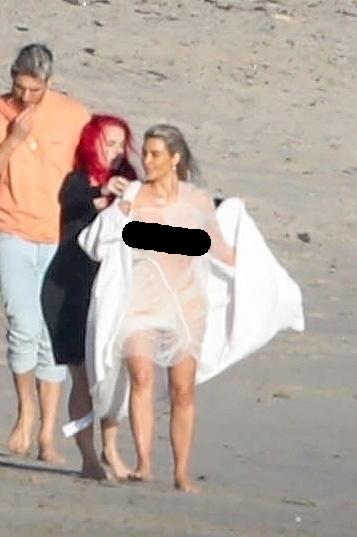 Kim Kardashian See Through Dress On Beach