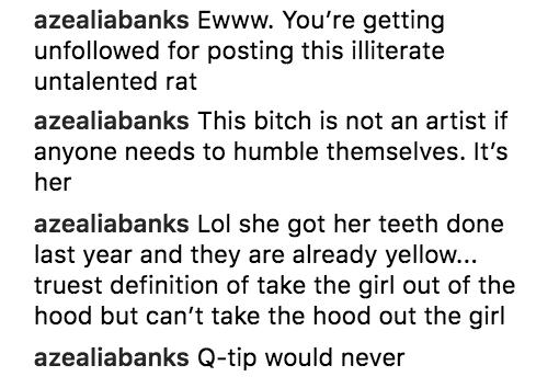 Azealia Banks Cardi B comments