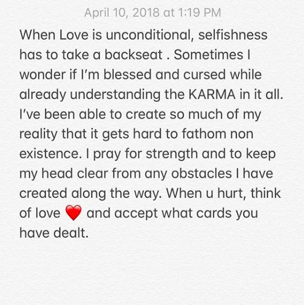 Chris Brown Instagram post