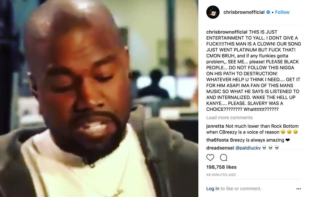 Chris Brown Kanye West Instagram Comments