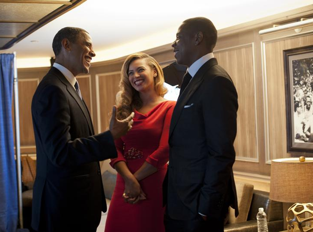 Jay-Z and Beyonce meet Barack Obama
