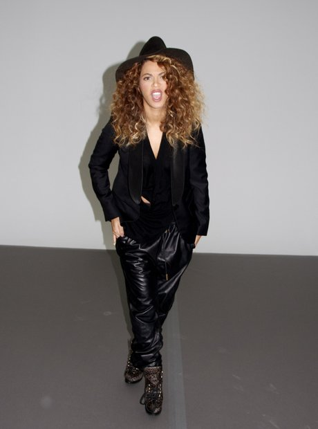 Beyonce wearing leather