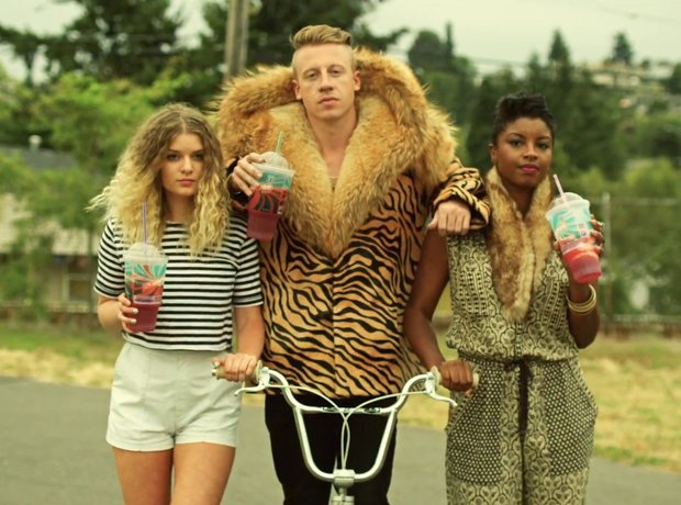 Macklemore Thrift Shop riding a bike