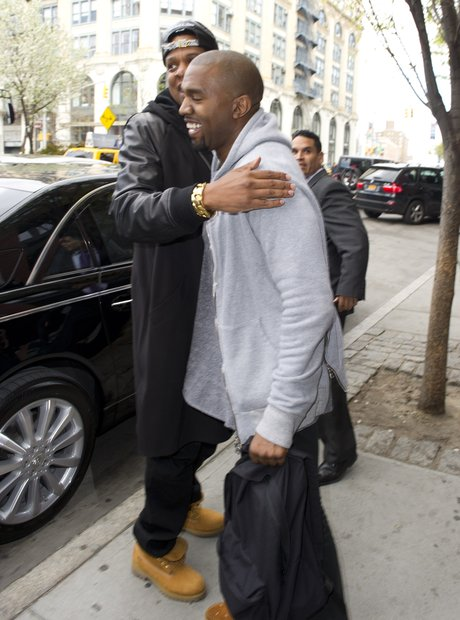 Jay Z and Kanye West hug