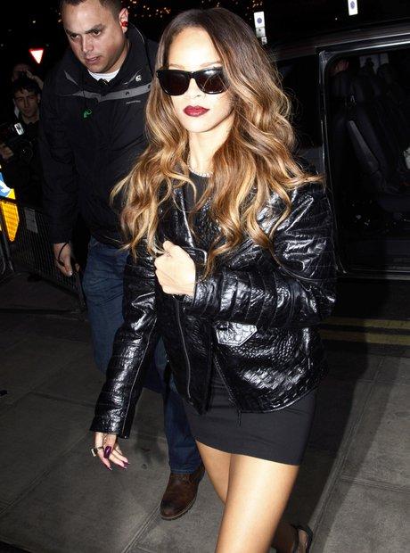 Rihanna wearing a leatehr jacket