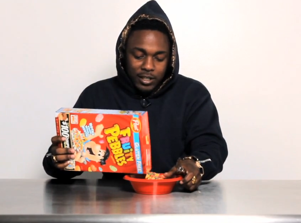 Kendrick Lamar eating cereal