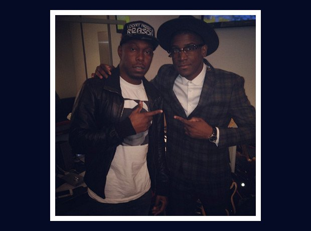 Dizzee Rascal and Labrinth backstage at gig