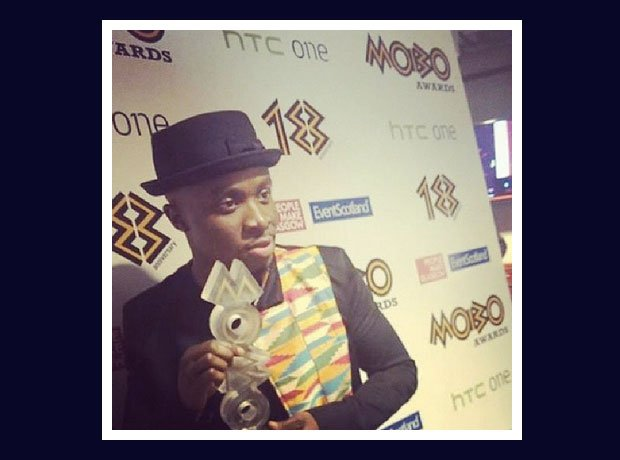 Fuse ODG at the MOBO Awards in Glasgow with his trophy