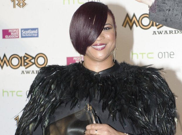 Gabrielle smiling at the Mobo Awards 2013