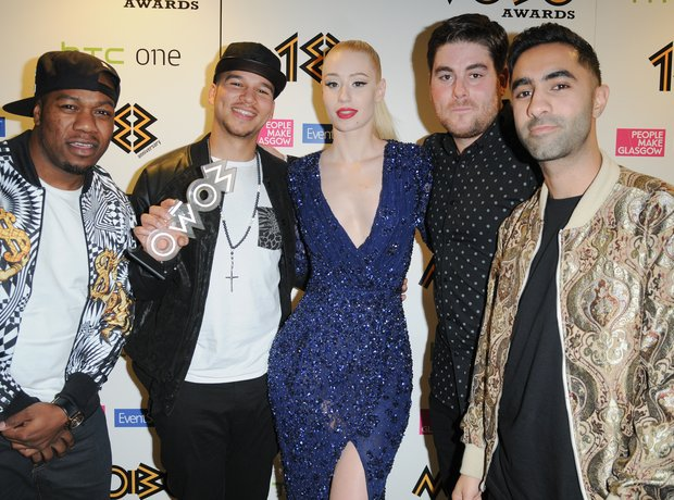 Iggy Azalea and Rudimental backstage Mobo Awards 2013