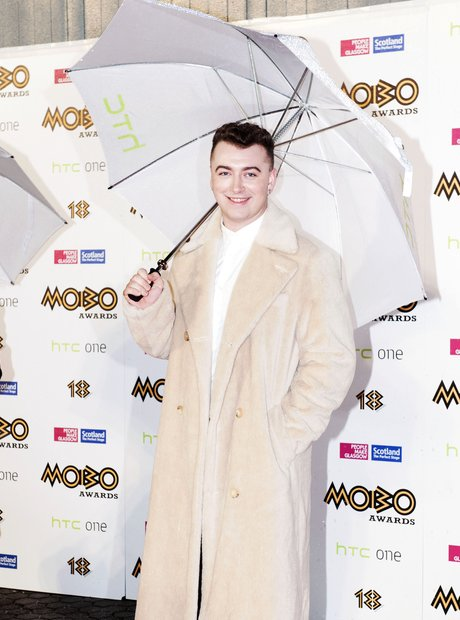 Sam Smith in fur coat at Mobo Awards 2013