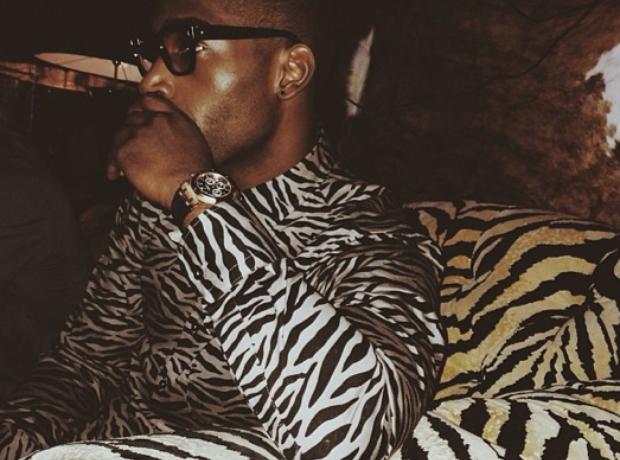 Tinie Tempah wearing a zebra shirt