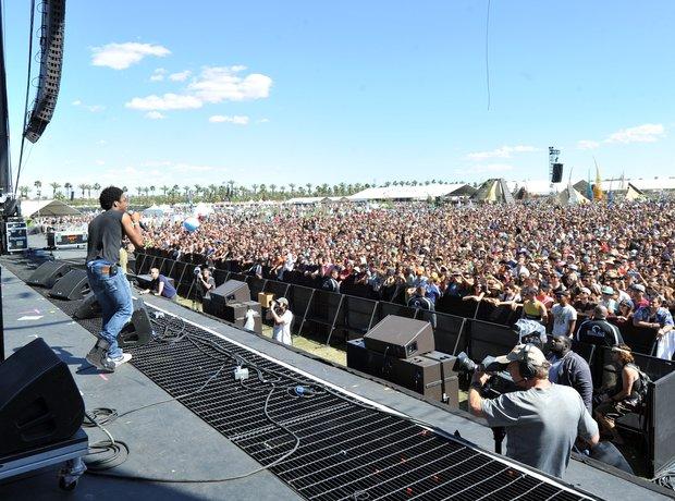 Childish Gambino on stage at Coachella music festival