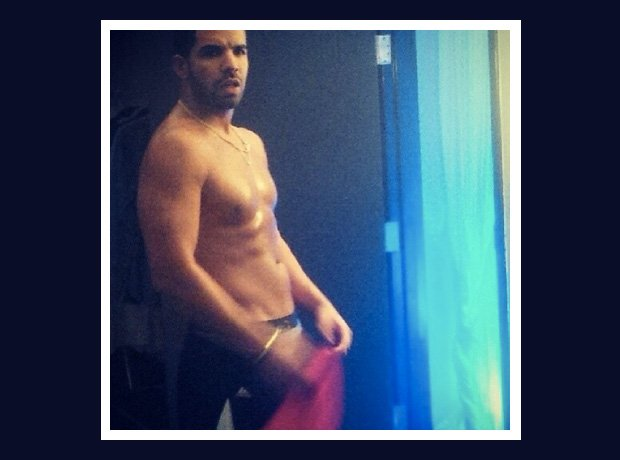 Drake topless with sixpack