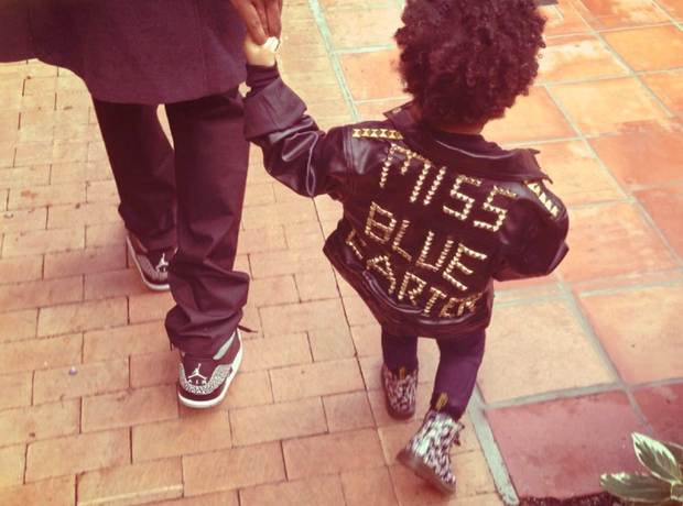 Blue Ivy Carter wearing a black leather jacket