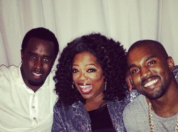 Diddy with Oprah and Kanye West