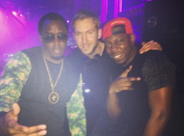 Diddy, Dizzee Rascal And Calvin Harris in DJ booth